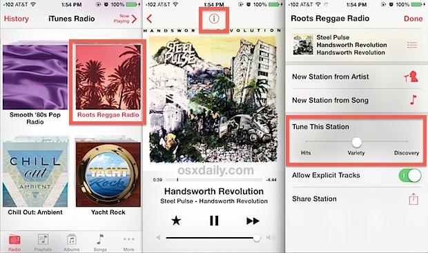 Regola la scoperta dei brani di iTunes Radio