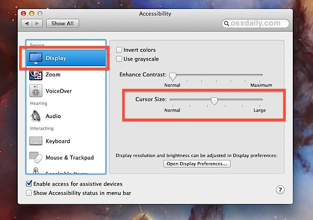 Cursor Slider della dimensione in OS X