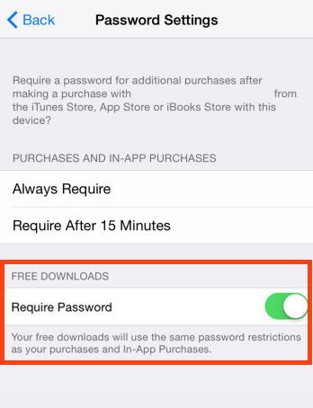 Richiedi una password per download gratuiti su iOS