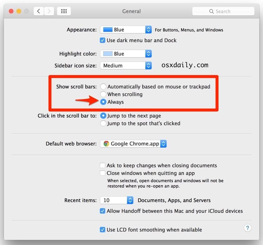 Come mostrare sempre le barre di scorrimento in Mac OS X.