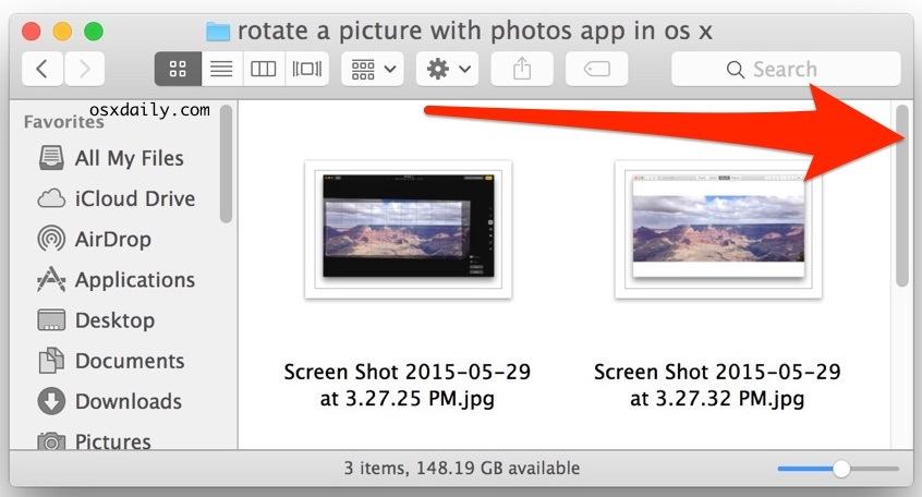 Una barra di scorrimento visibile in Mac OS X
