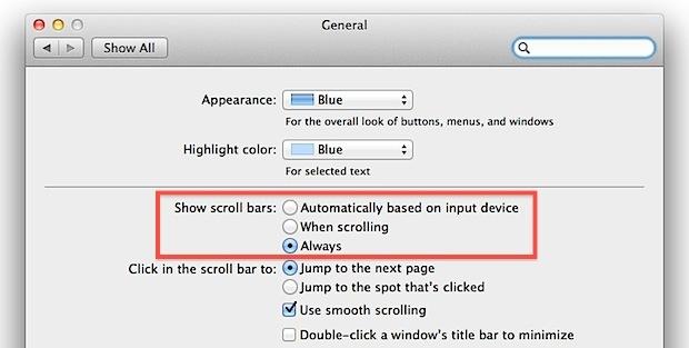 Come mostrare le barre di scorrimento in Mac OS X.