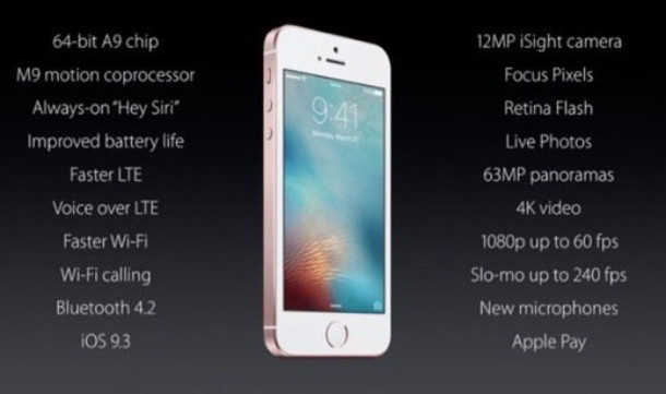 Scheda tecnica iPHone SE