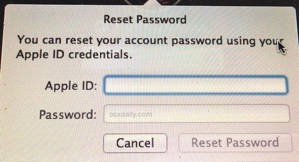 Reimposta una password in Mac OS X con l'ID Apple