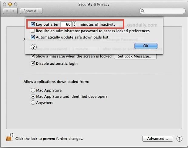 Attiva la disconnessione automatica in Mac OS X.