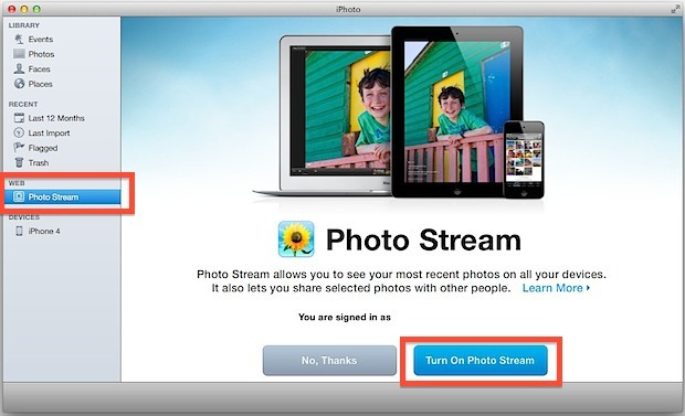 Abilita il supporto di Photo Stream in iPhoto per Mac OS X