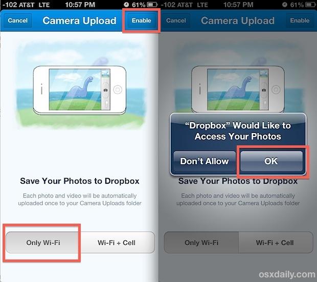 Esegui il backup automatico delle foto di iPhone su Dropbox