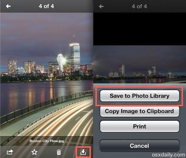 Scarica una foto da Dropbox su iPhone