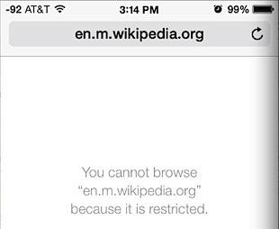 L'accesso a un sito Web bloccato in Safari è simile a questo