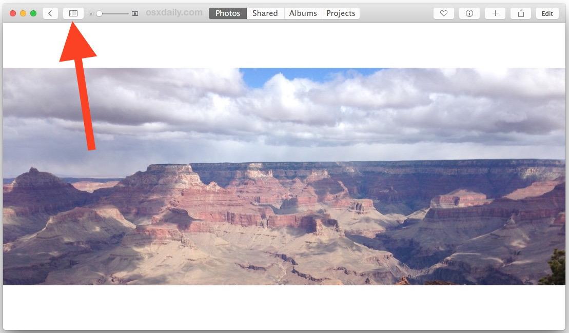 Accesso alla vista divisa nell'app Foto per Mac OS X