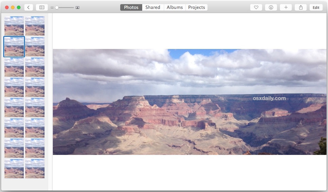 Foto Split View mostra le miniature sul lato sinistro della app