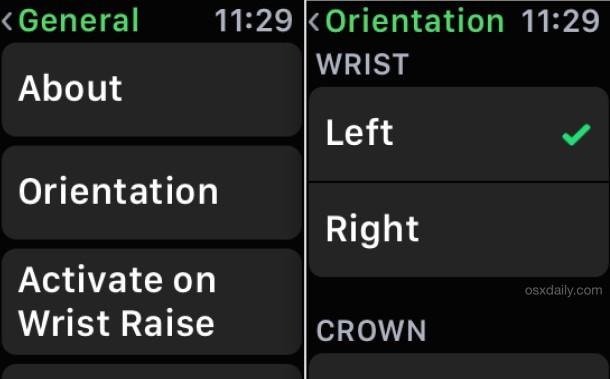 Cambia l'orientamento del polso di Apple Watch nelle impostazioni del dispositivo