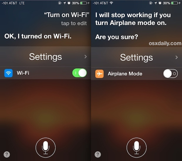 Attiva o disattiva le impostazioni di sistema in iOS con Siri