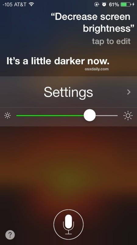 Cambia la luminosità del display su iPhone o iPad con Siri