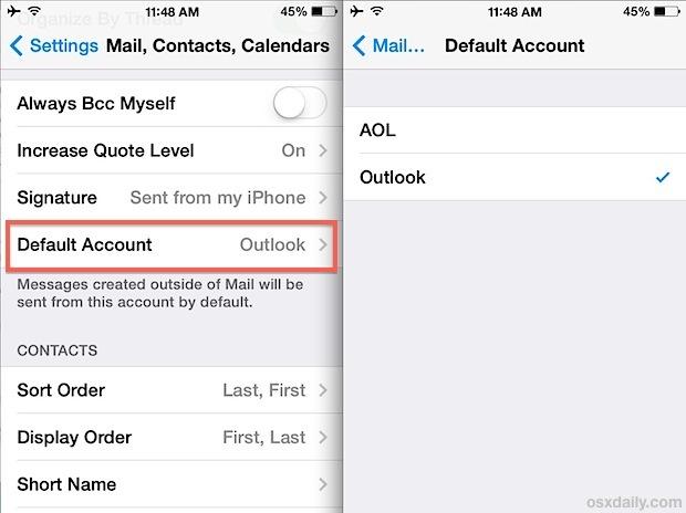 Cambia l'account di posta predefinito nell'app iOS Mail su iPhone, iPad e iPod touch