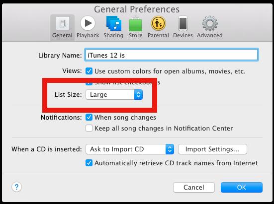 Cambia la dimensione del carattere di iTunes 12