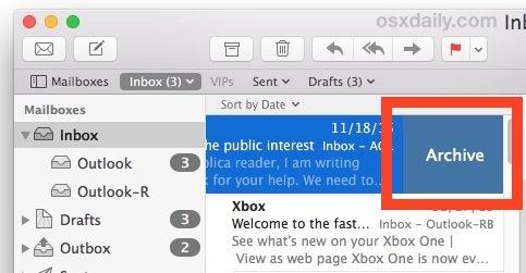 Scorri verso sinistra per archiviare o Cestino nel gesto dell'app Mac OS X Mail