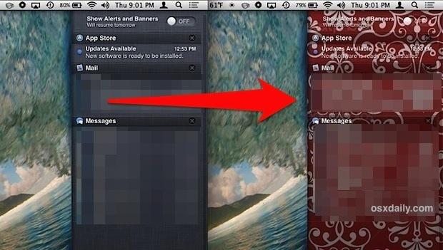 Sfondo dello sfondo del Centro notifiche prima e dopo essere stato sostituito in OS X