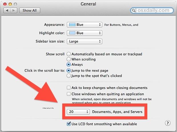Cambia Apri il numero del file di menu recenti in Mac OS X.