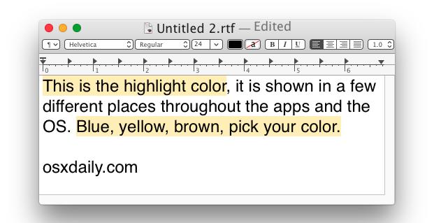 Evidenzia il colore in Mac OS X