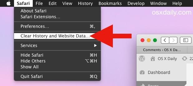 Safari Cancella cronologia e dati dei siti Web in Mac OS X