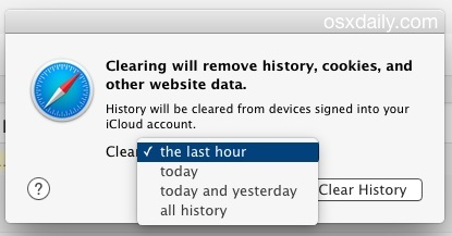 Cancella la cronologia recente di Safari e i dati del sito