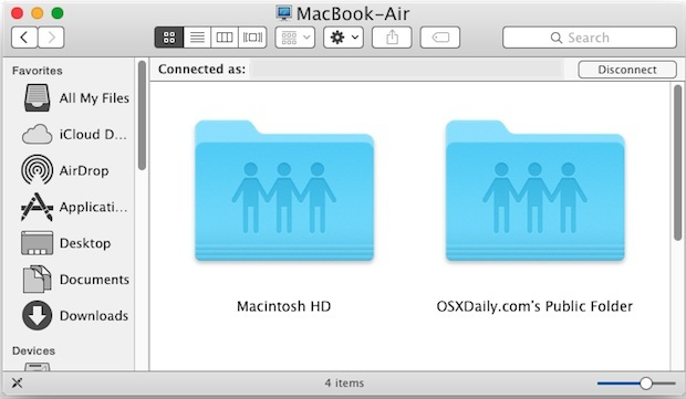 Condivisione di rete Mac connessa