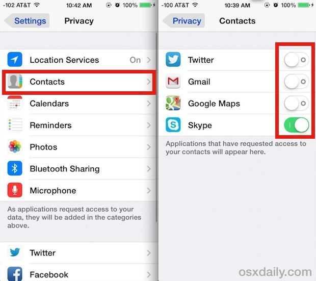 Controlla quali app possono accedere ai contatti in iOS