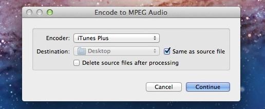 Codifica audio M4A da sorgente AIFF