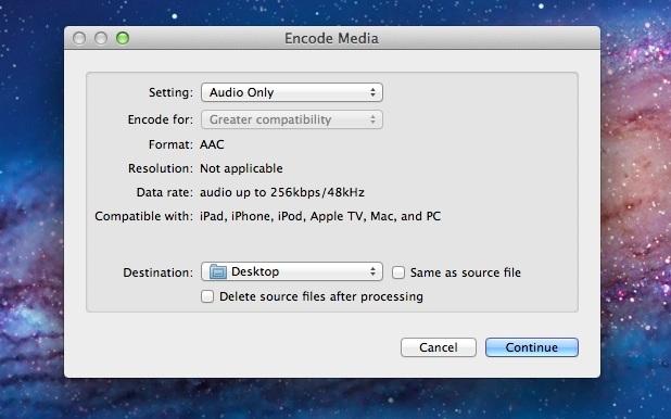 Converti audio in video in Mac OS X Lion