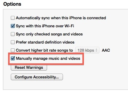 Gestisci manualmente la musica per aggiungere direttamente brani a un dispositivo iOS senza aggiungerli alla libreria iTunes del computer