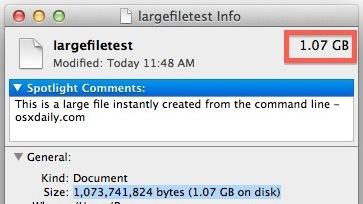 File di test di grandi dimensioni creato sulla riga di comando