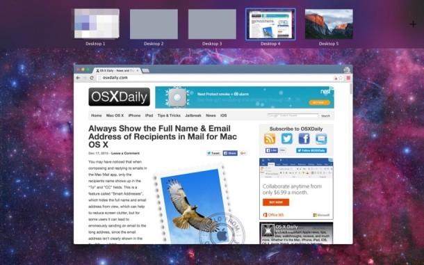 Un nuovo spazio desktop è stato creato in OS X