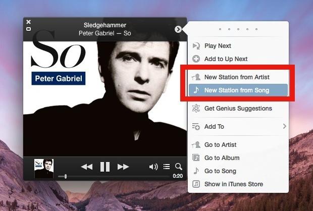 Crea una nuova stazione radio iTunes da una canzone o artista