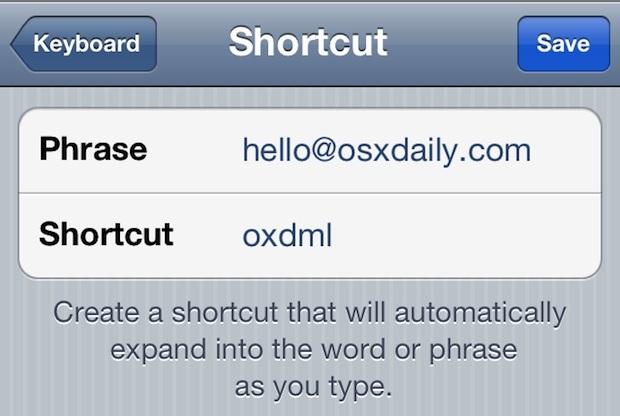Crea una scorciatoia per digitare velocemente l'indirizzo e-mail in iOS