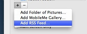 Aggiungi screen saver Feed RSS