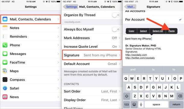 Crea e utilizza una firma e-mail HTML su iPhone