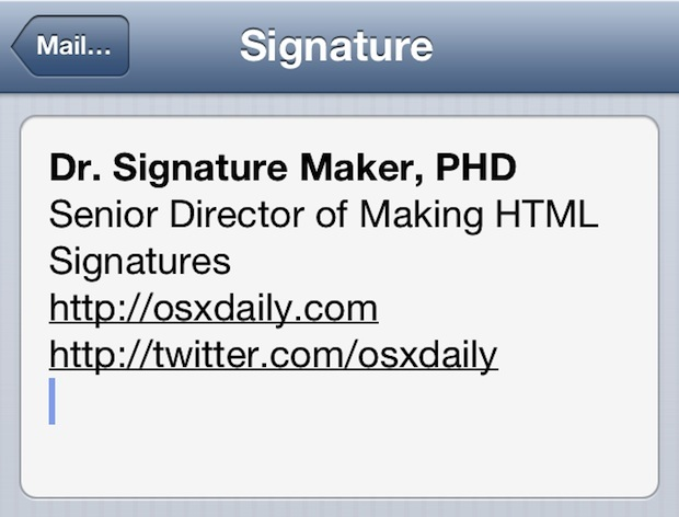 Firma HTML nell'app per iOS Mail