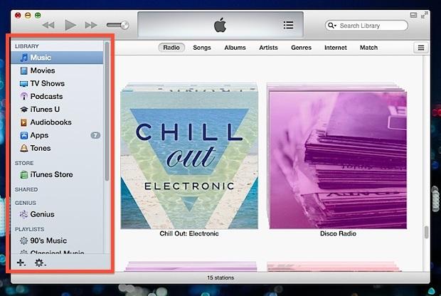 Barra laterale di iTunes resa visibile