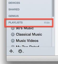 Nascondi playlist, genio, elementi condivisi, ecc. Nella barra laterale di iTunes