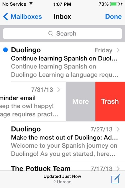 Elimina email in iOS 7