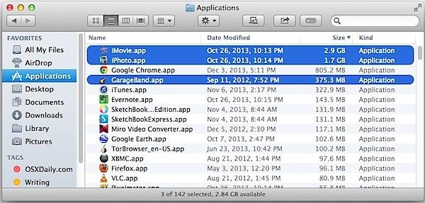 Garageband, iPhoto e iMovie nella cartella Applicazioni