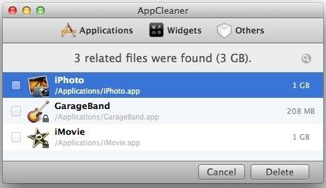 Disinstallare Garageband, iMovie e iPhoto con AppCleaner