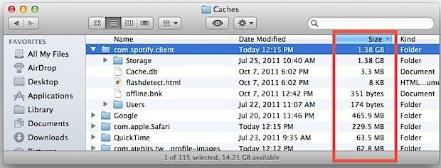 Ordina le cache delle app Mac in base alle dimensioni