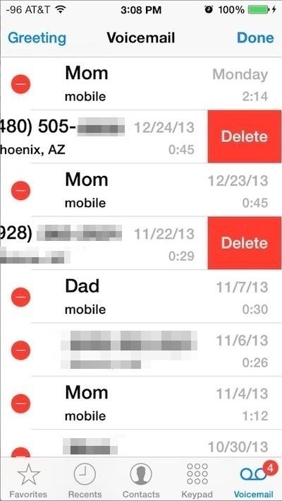 Elimina più messaggi Voicemail su iPhone con multitouch