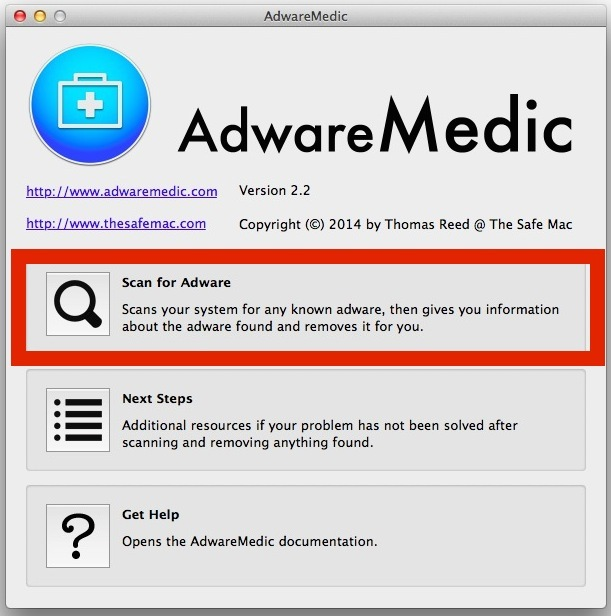 AdwareMedic esegue la scansione e rileva e rimuove gli adware in Mac OS X