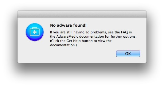 Nessun adware trovato su un Mac pulito