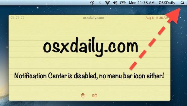 Disattiva Centro notifiche e rimuovi l'icona dalla barra dei menu in Mac OS X.
