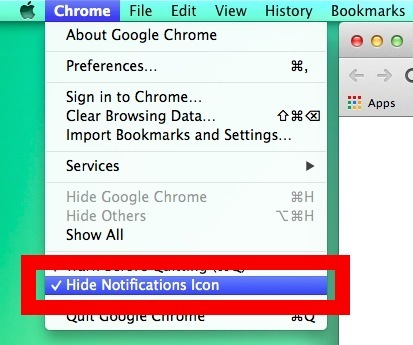 Nascondi l'icona della campana di Chrome