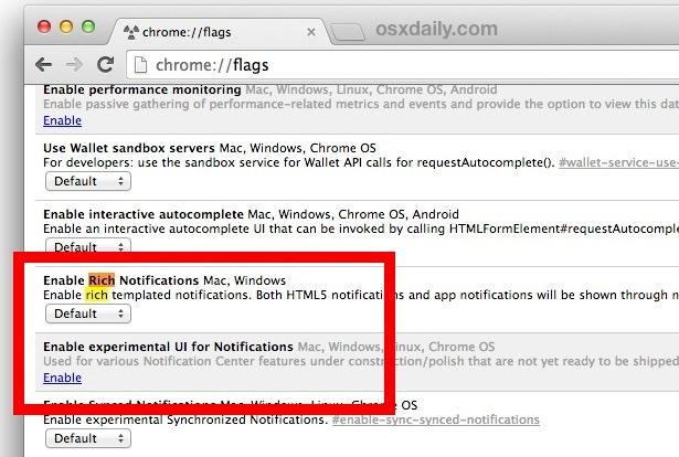 Disattiva l'icona della campana di notifica della barra dei menu di Chrome in Mac OS X.